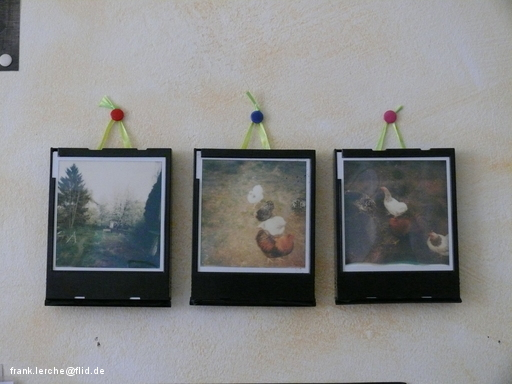 Polaroids in Filmkassettenrahmen
